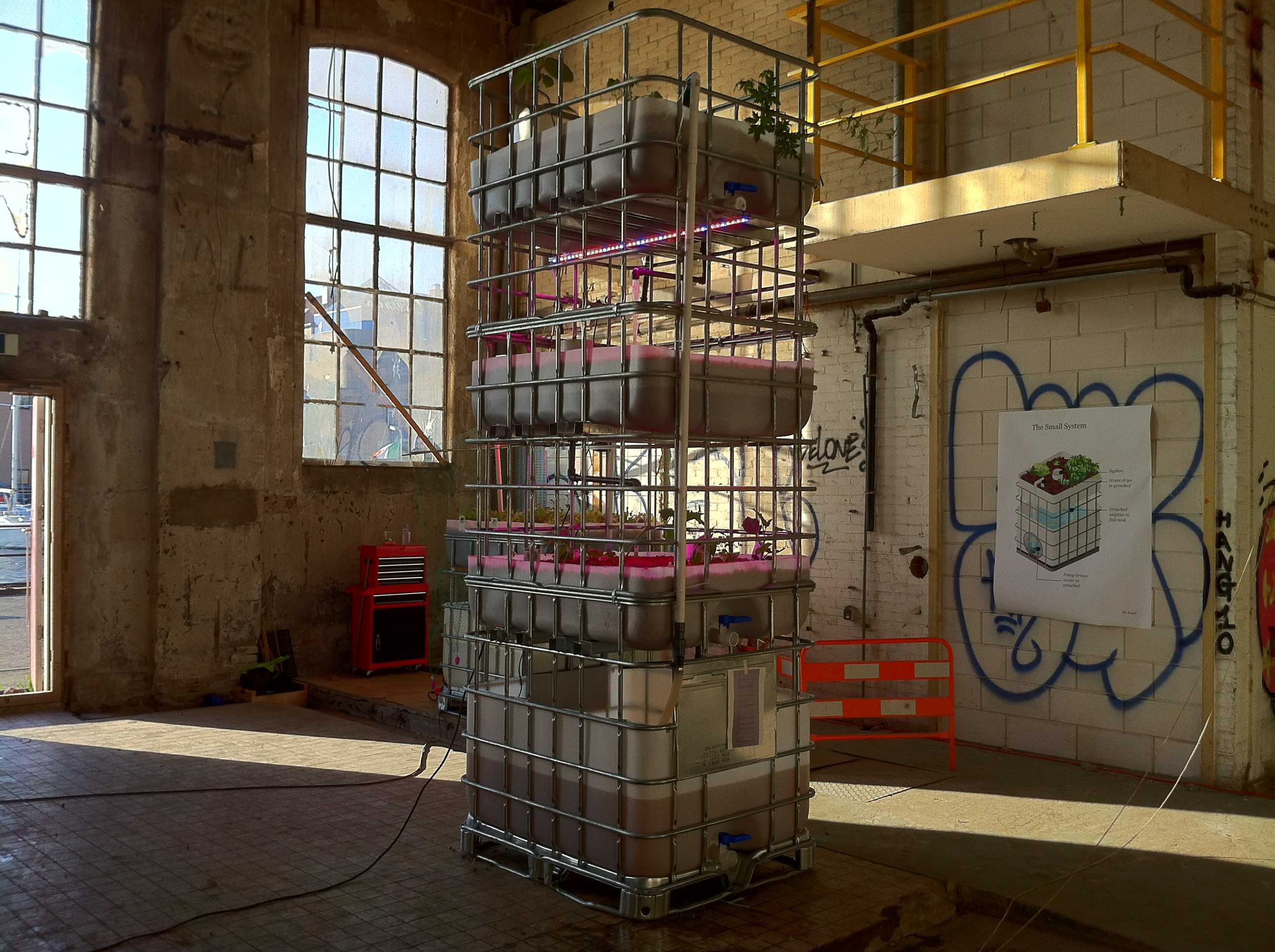 Aquaponics at Mediamatic Fabriek - Mediamatic on small vegetable greenhouse, small solar greenhouse, micro aquaponics greenhouse, easy aquaponics greenhouse, private aquaponics greenhouse,